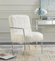 Faux Sheepskin Upholstered Accent Chair With Metal Arm White