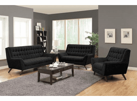 COASTER Black fabric LIVING ROOM SET 3PC (SOFA + LOVE+CHAIR)