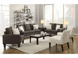 COASTER LIVING ROOM GREY FABRIC 3PC (SOFA + LOVE+ CHAIR)
