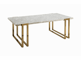 COASTER COFFEE TABLE 722738 ITALIAN WHITE MARBLE WITH ROSE BRASS