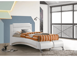 COASTER WHITE LEATHER TWIN PLATFORM BED