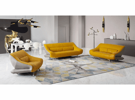 Creative Furniture Madrid Yellow / Grey Leather Sofa