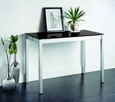 Creative Orlando  White Glass/ W Silver finish Console To  Dining Table Only.