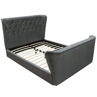Diamond Sofa Allure Eastern King Bed in Royal Grey Tufted Velvet w/ Nailhead Accents