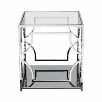 Diamond Sofa Avalon End Table with Clear Glass Top, Mirrored Shelf & Stainless Steel Frame