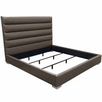 Diamond Sofa Bardot Channel Tufted Cal King Bed in Elephant Grey Leatherette