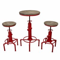 "Diamond Sofa Brooklyn 3PC Set Adjustable Height Bistro Table with Weathered Grey Top and Red Powder Coat ""Hydrant"" Base with (2) Stools"