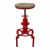 "Diamond Sofa Brooklyn Adjustable Height Stool with Weathered Grey Top and Red Powder Coat ""Hydrant"" Base"