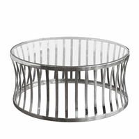 Diamond Sofa Capri Round Stainless Steel Cocktail Table w/ Clear, Tempered Glass Top