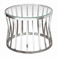 Diamond Sofa Capri Round Stainless Steel End Table w/ Clear, Tempered Glass Top
