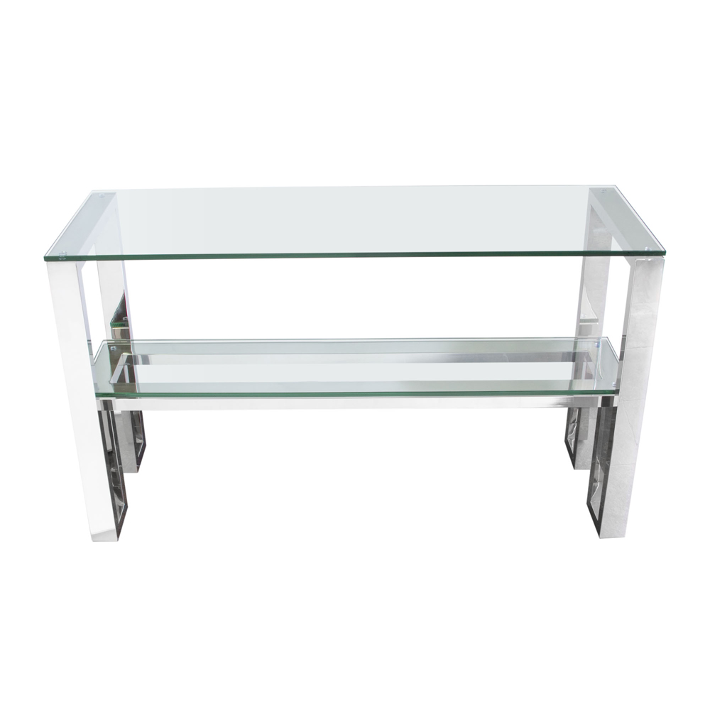 Diamond Sofa Carlsbad Console Table With Clear Glass Top U0026 Shelf With  Stainless Steel Frame