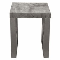 Diamond Sofa Carrera End Table in Faux Concrete Finish with Brushed Stainless Steel Legs