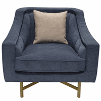 Diamond Sofa Croft Fabric Chair in Buckingham Naval Blue Fabric w/ Contrasting Accent Pillow and Gold Metal Criss-Cross Frame