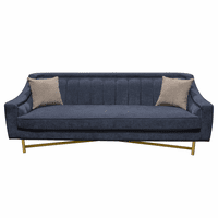 Diamond Sofa Croft Fabric Sofa in Buckingham Naval Blue Fabric w/ Contrasting Accent Pillows and Gold Metal Criss-Cross Frame