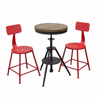 Diamond Sofa Douglas 3PC Set Vintage Adjustable Height Bistro Table with Weathered Grey Top and Powder Coat Iron Base with 2-Pack Antique Red Stools