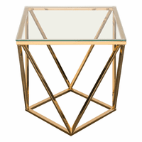 Diamond Sofa Gem End Table with Clear Tempered Glass Top and Polished Stainless Steel Base in Gold Finish