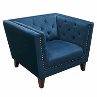 Diamond Sofa Grand Tufted Back Chair with Nail Head Accent in Blue Velvet