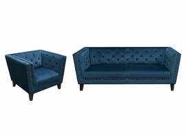 Diamond Sofa Grand Tufted Back Sofa & Chair 2PC Set with Nail Head Accent in Blue Velvet