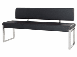 Diamond Sofa Knox Bench w/ Back & Stainless Steel Frame - Black