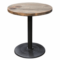 "Diamond Sofa Lincoln Vintage 28"" Round Bistro Table with Weathered Grey Top and Black Powder Coat Base"
