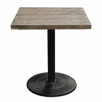 "Diamond Sofa Lincoln Vintage 28"" Square Bistro Table with Weathered Grey Top and Black Powder Coat Base"