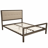 Diamond Sofa London Champagne Bronze Metal Queen Bed with Sand Fabric Headboard & Dual USB Charging Ports