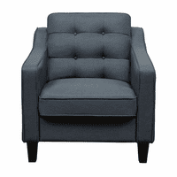 Diamond Sofa Lucas Chair in Blue Fabric with Tufted Back & Wood Leg