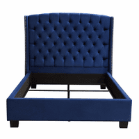 Diamond Sofa Majestic Cal King Tufted Bed in Royal Navy Velvet with Nail Head Wing Accents