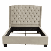 Diamond Sofa Majestic Eastern King Tufted Bed in Tan Velvet with Nail Head Wing Accents