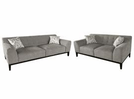 Diamond Sofa Marquee Tufted Back Sofa & Loveseat 2PC Set in Moonstone Fabric with Accent Pillows
