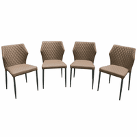 Diamond Sofa Milo 4-Pack Dining Chairs in Coffee Diamond Tufted Leatherette with Black Powder Coat Legs