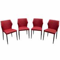 Diamond Sofa Milo 4-Pack Dining Chairs in Red Diamond Tufted Leatherette with Black Powder Coat Legs