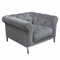 Diamond Sofa Monroe Tufted Chair in Royal Platinum Grey Velvet with Brushed Stainless Steel Trim & Leg