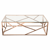 Diamond Sofa Nest Rectangular Cocktail Table with Clear Tempered Glass Top and Polished Stainless Steel Base in Rose Gold Finish