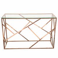 Diamond Sofa Nest Rectangular Console Table with Clear Tempered Glass Top and Polished Stainless Steel Base in Rose Gold Finish