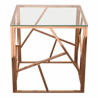 Diamond Sofa Nest Square End Table with Clear Tempered Glass Top and Polished Stainless Steel Base in Rose Gold Finish