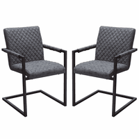 Diamond Sofa Nolan 2-Pack Dining Chairs in Charcoal Diamond Tufted Leatherette on Charcoal Powder Coat Frame