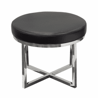 Diamond Sofa Ritz Round Accent Stool with Padded Seat in Black Bonded Leather and Polished Stainless Steel Base