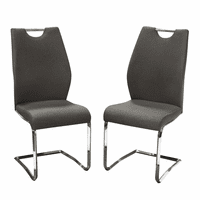 Diamond Sofa Set of (2) London Dining Chairs in Grey Fabric with Chrome Base