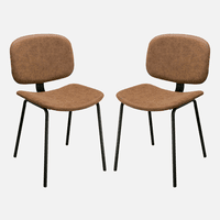 Diamond Sofa Set of Two James Dining Chairs in Coffee PU with Powder Coated Metal Frame