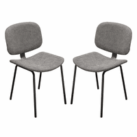Diamond Sofa Set of Two James Dining Chairs in Steel Grey PU with Powder Coated Metal Frame