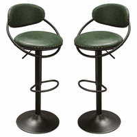 Diamond Sofa Set of Two Vegas Adjustable Height Barstools in Hunter Green PU with Nail Head Accents and Black Powder Coated Frame