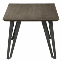 Diamond Sofa Sigma Square End Table with Chestnut Veneer Top with Tapered Apron and Grey Powder Coat Iron Legs