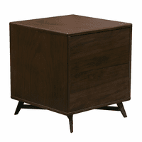 Diamond Sofa Tempo End Table with Drawer Storage in Walnut Case and Black Powder Coated Legs