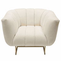 Diamond Sofa Venus Cream Fabric Chair w/ Contrasting Pillows & Gold Finished Metal Base