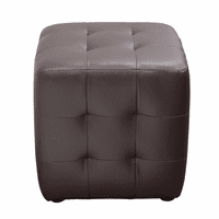 Diamond Sofa Zen Collection, Bonded Leather Tufted Cube Accent Ottoman