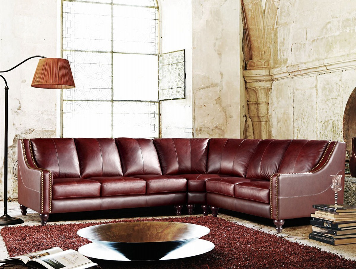 - Divani Casa 3024 - Brown Top Grain Italian Leather Sectional Sofa
