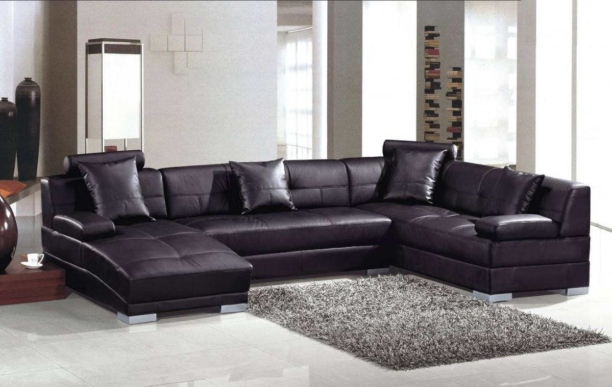 Divani Casa 3334 Ultra Modern Black Bonded Leather Sectional ...