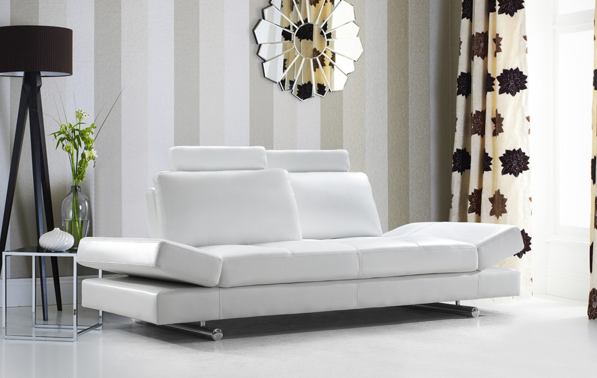 Divani casa hymn modern white leather sofa with adjustable backrest