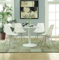 Tulip Style White Round Dining Table With Black or White Chairs